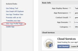 Creating a new App in Facebook - View Profile Page