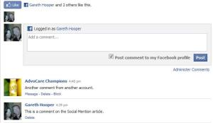 Facebook Comments Social Plugin on a webpage