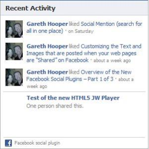 Facebook Activity Feed Social Plugin