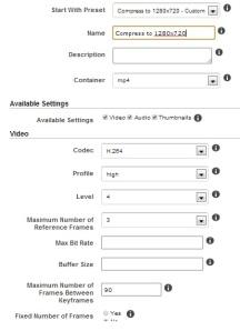 Custom Preset part 1 of 2 for 1280 conversion using Amazon's Elastic Transcoder