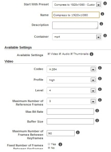 Custom Preset part 1 of 2 for Full HD 1920 x 1080 using Amazon's Elastic Transcoder
