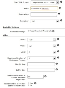 Custom Preset part 1 of 2 for Non-Mobile Devices using Amazon's Elastic Transcoder