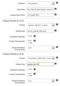 Creating a Job using Amazon's Elastic Transcoder