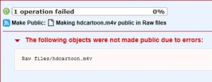 Amazon S3 - The following objects were not made public due to errors